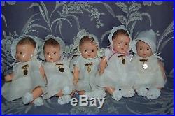 1935 Madame Alexander Dionne Quintuplets dolls original dresses, hats pins booti