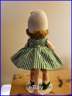 1957 Vint Madame Alexander Kins Straight Leg Walker MINT Christmas Berries Dress