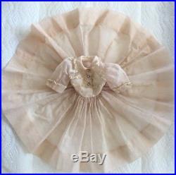 1958 HTF Madame Alexander 20 Cissy Pale Pink Sheer Dress & Ruffled Tulle Slip
