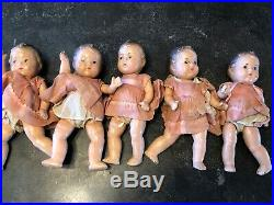 5 VINTAGE MADAME ALEXANDER DIONNE QUINTUPLET 7.5 Composition Dolls 1930's