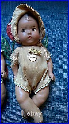 Antique Dionne Quintuplets Dr. Dafoe Composition Dolls with Original Outfits 1930s