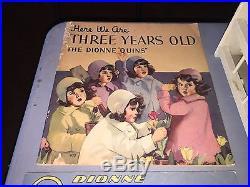 Dionne Quintuplets Madame Alexander 7 1/2 Dolls, Crib, Books, Bowl, Blanket Lot