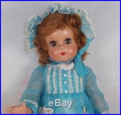 JEANNIE walker 18 Madame Alexander Composition doll 40's Blue Swiss Dot dress