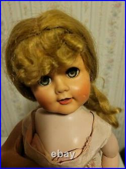 Madame Alexander 1950's Madeline Blonde with Curly Bangs Doll Dress