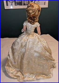 Madame Alexander 21 CISSY DOLL Gold Dress Diamond Ring Ear 1950s RARE Vintage