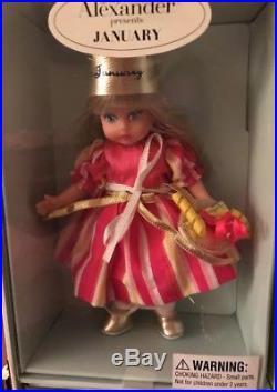 Madame Alexander COMPLETE SET 5-inch Calendar Girl Dolls in Original Carry Case