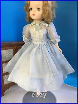 Madame Alexander Cissy doll Tagged 1958 Blue Dotted Swiss Dress