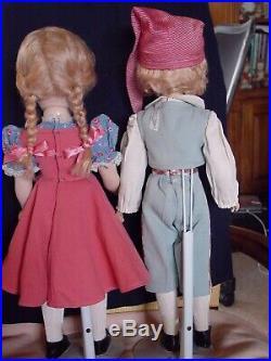 Madame Alexander Vintage Composition Hard Plastic Rare Hansel & Gretel Doll Set