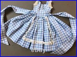 Rare 1958 Madame Alexander 20 Cissy Doll Blue Gingham Apron Dress Tagged xcma1