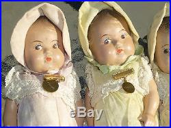 Set Five Dionne 7 Madame Alexander Quintuplet Toddler Dolls Ontario Composite
