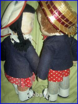 VERY RARE pair 16 antique Mme. Alexander Susie Q & Bobby Q 1938 cloth dolls