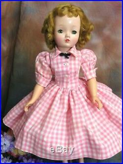 VINTAGE 1950 Madame Alexander CISSY DOLL blonde 20 in TAGGED pink white DRESS