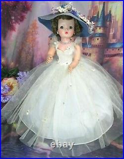 VINTAGE 1950s Madame Alexander CISSY DOLL brunette TAGGED Garden Party DRESS hat