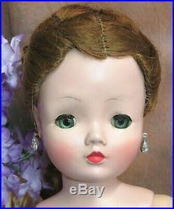 VINTAGE 1950s Madame Alexander CISSY DOLL red head in LAVENDER silk DRESS hat
