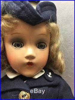 VINTAGE Madame Alexander Composition Wave Doll NAVY Military Antique 15 Satchel