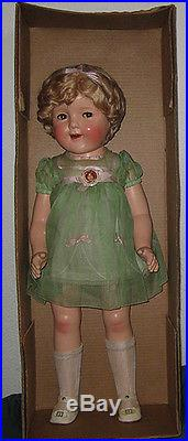 Vintage 1930s Ideal Shirley Temple Doll Rare Dress -Window Display -Pin-MIB