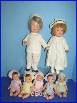 Vintage 1934 Madame Alexander Dionne Quintuplets 8 Dolls, Dr DaFoe & Nurse Doll