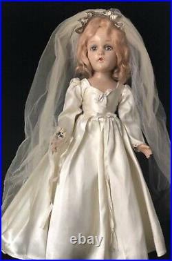 Vintage 1940s Madame Alexander Composition Wendy Ann 17 Bride Doll