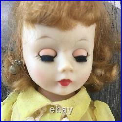 Vintage 1950 Madame Alexander Cissette 9doll Tagged Yellow Dotted Swiss Dress
