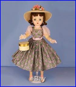 Vintage 1950s Madame Alexander Cissy Doll wearing rare FAO Schwartz dress