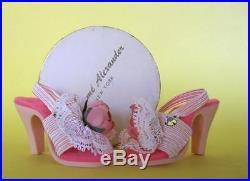 Vintage 1950s Madame Alexander Cissy High Heels White Lace Rhinestone Doll Shoe