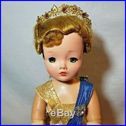 Vintage 1950s Madame Alexander Cissy Queen Elizabeth Coronation Doll 21 Tall