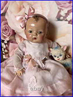 Vintage Composition Madame Alexander Baby Pinky Doll Original Dress. C. 1936 16