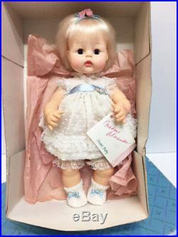 Vintage MIB Madame Alexander 13 Sweet Baby Platinum Hair Doll White Blue Dress