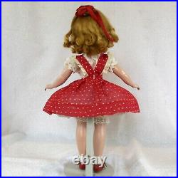 Vintage Madame Alexander 14 Maggie teenager doll, tagged red dotted Swiss dress