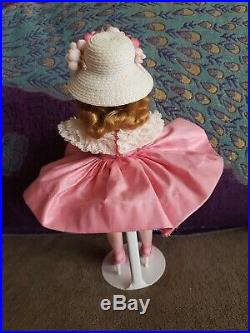 Vintage Madame Alexander 1950's Cissette Dressed in Pink Polished Cotton Dress