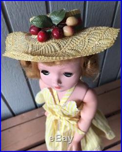 Vintage Madame Alexander Cissy Doll 1957 Cabana Set Yellow Sunsuit Very Rare Hat