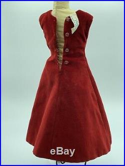 Vintage Madame Alexander VHTF 1956 Red Velvet Sheath Dress With Chevron Pin