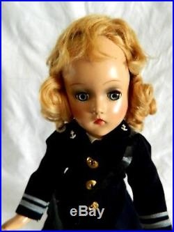 Vtg Composition Madame Alexander 1942 Military WAVE Officer Doll Original withBox
