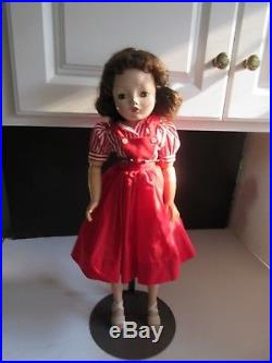 Vtg Madame Alexander Cissy Doll in Red Pinafore w Red & White Striped Blouse